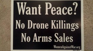 Women Against War yard sign, 2015-2016