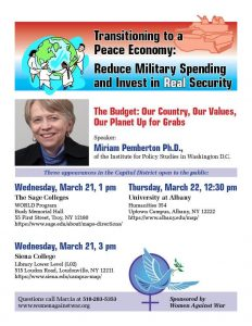 Miriam Pemberton speaks about transitioning to a peace economy at 3 college campuses on March 21st and March 22nd. @ Sage Colleges, Troy, Siena College, Loudonville, UAlbany, uptown