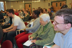 Diverse audience of students, faculty and community members listen to Stephen Kinzer at Siena College, photo by Alice Brody