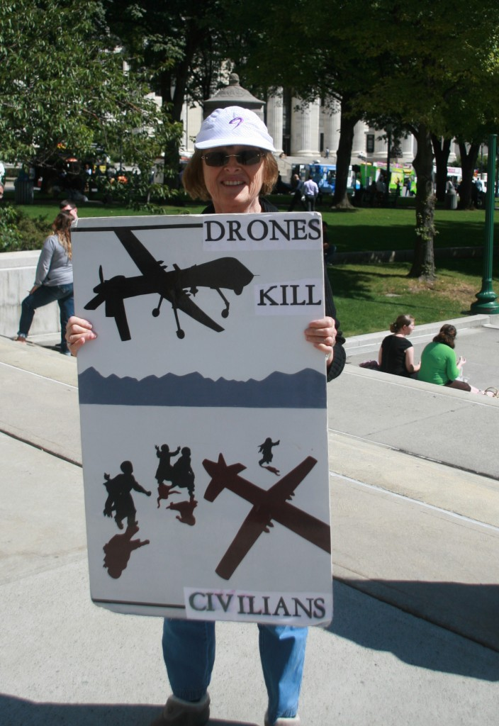 IMG_9469 Hazel with Drones Kill Civilians sign