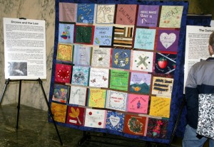 Quilt with visitor in LOB concourse