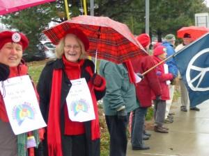 Maureen and Barb on vigil line.  Photo by Marcia Hopple