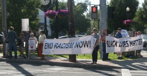 BNP vigil against racism, Monday June 22, 4 Corners, Delmar.  Photo by Mabel Leon