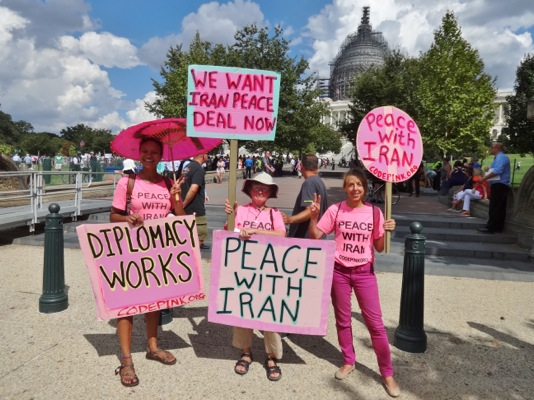 Wendy atht e September 8th and 9th peace with Iran events by Code Pink, between Michaela and Medea.