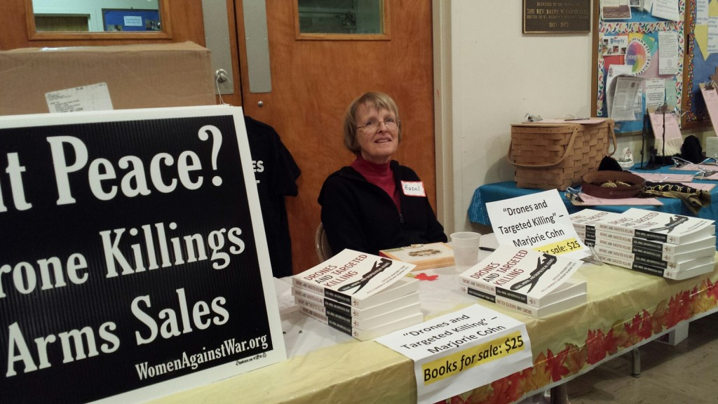 Hazel selling Marjorie's book, photo by Priscilla Fairbank