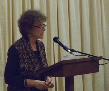 "Marjorie Cohn speaking about her article: ""'The Drone Papers' Revelations Are a Cry for Ending the Slaughter""  Photo by Connie Frisbee Houde"
