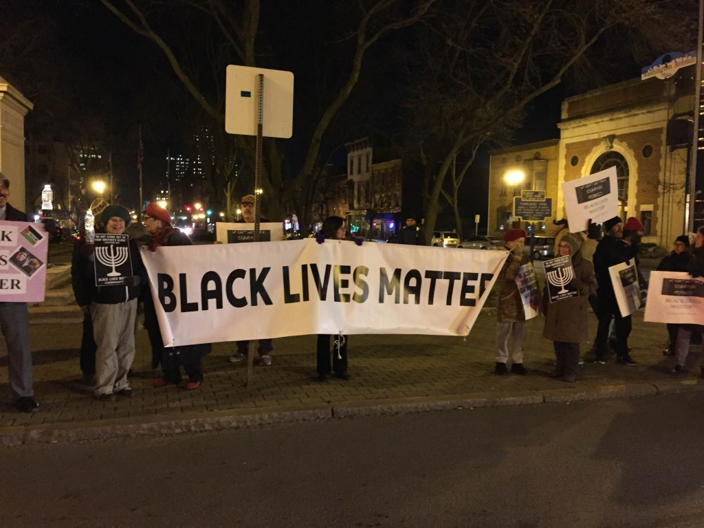 Black lives Matter image from Chanukah vigil, December 8, 2015