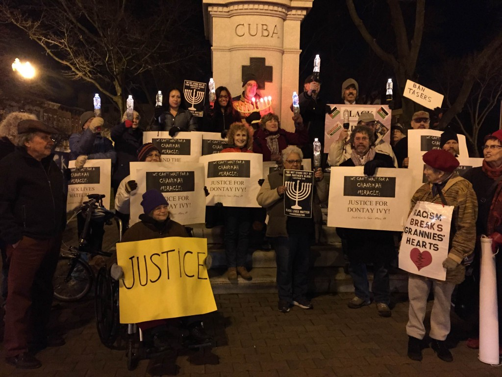 JVP vigil in Townsend Park, third night of Chanukah, 2015