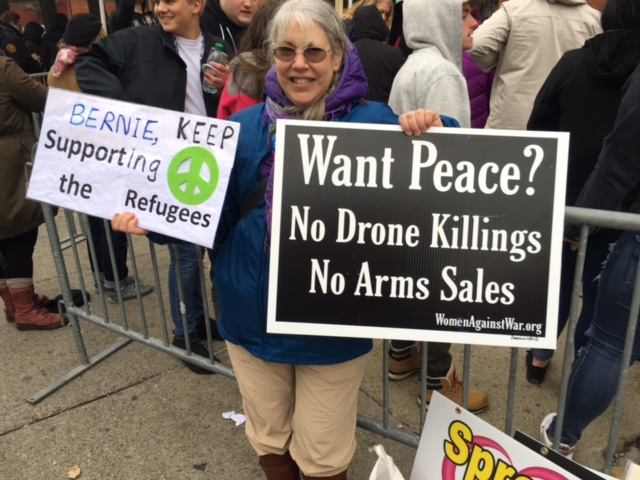 Elaine at the Bernie Rally, April 11, 2016, photo by Mabel