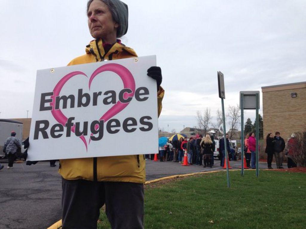 Priscilla outside John Kasich rally, April 11, 2016, photo by Paul Bukowski of TU