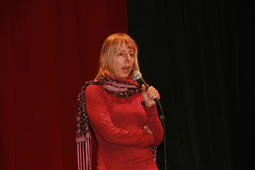 Medea speaking at the Sanctuary, photo by Mark Klein
